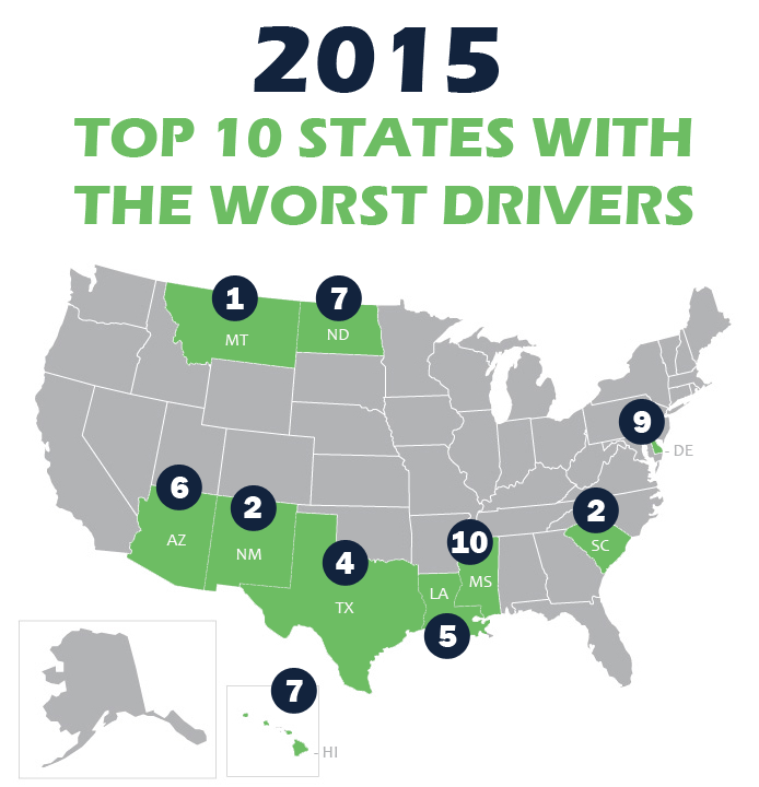2015 Top States With The Worst Drivers
